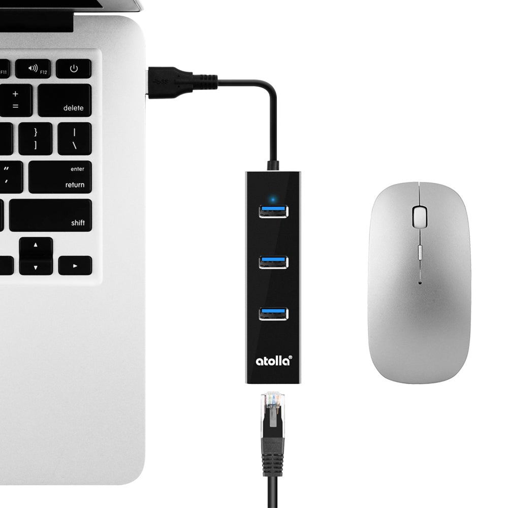 USB 3.0 Ethernet Hub with USB C Adapter (301C)