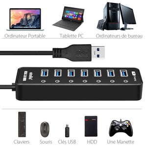 atolla Powered 7 Port USB 3 Hub Splitter (CH207U3)