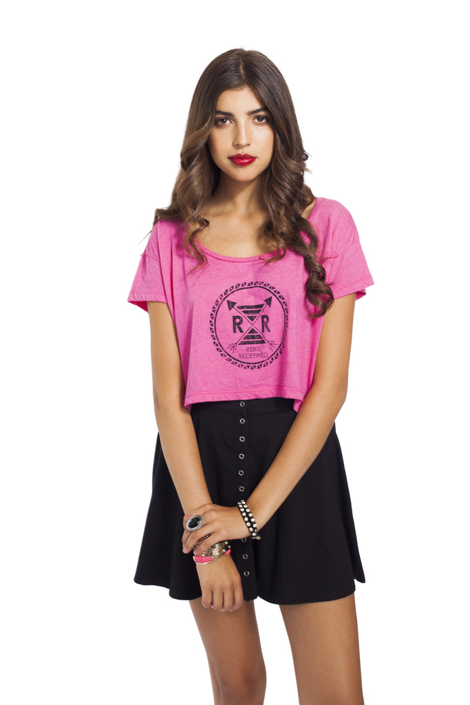 Fuschia Rebel Logo Crop Tee
