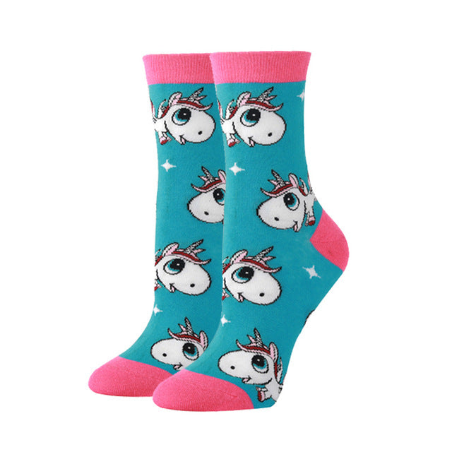 Cute Unicorn Print Novelty Socks