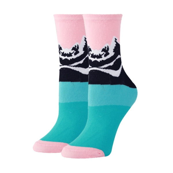 Wave Print Trendy Novelty Socks