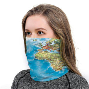 World Map BANDANAS HEADBAND SHIELD UNISEX NECK GAITER FOR OUTDOOR SPORTS