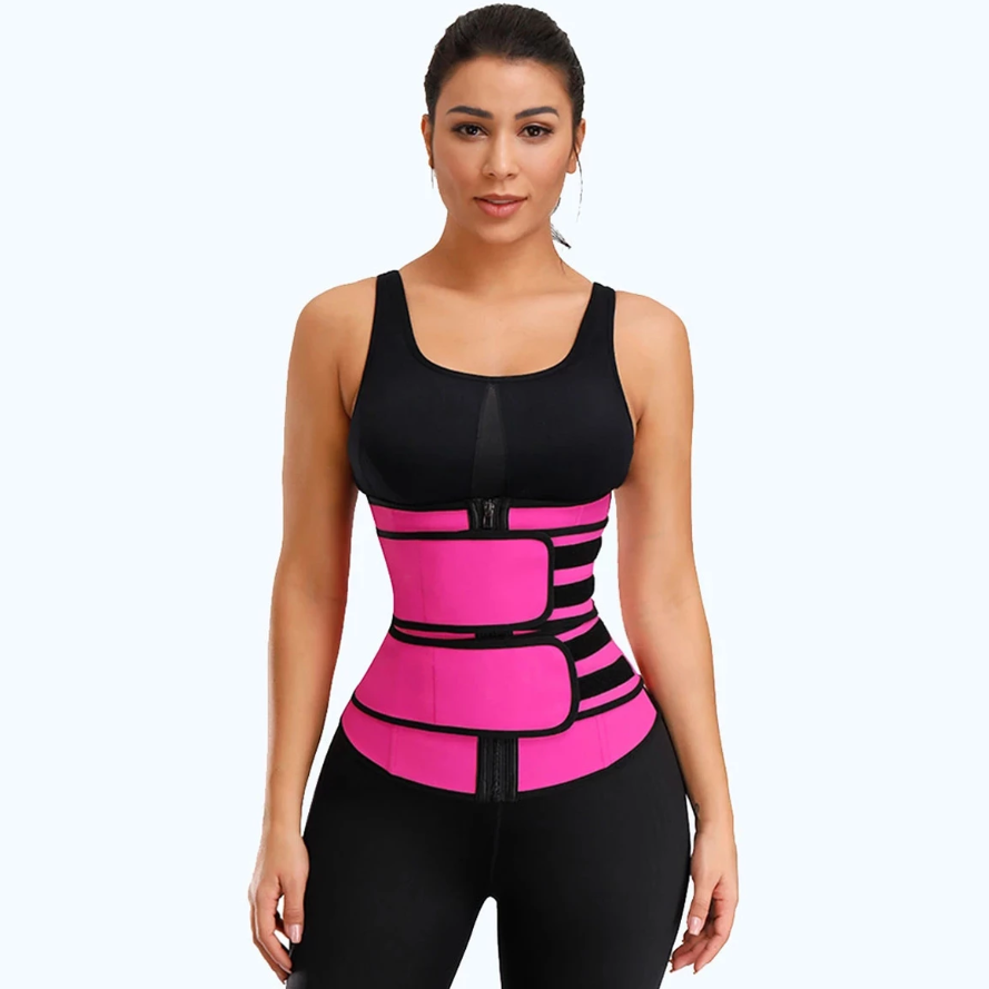 Latex Waist Trainer - Double Compression Straps with Supportive Zipper!