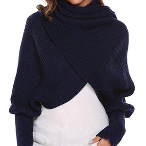 HOT SALE-Crochet Sweater-Scarf With Sleeves