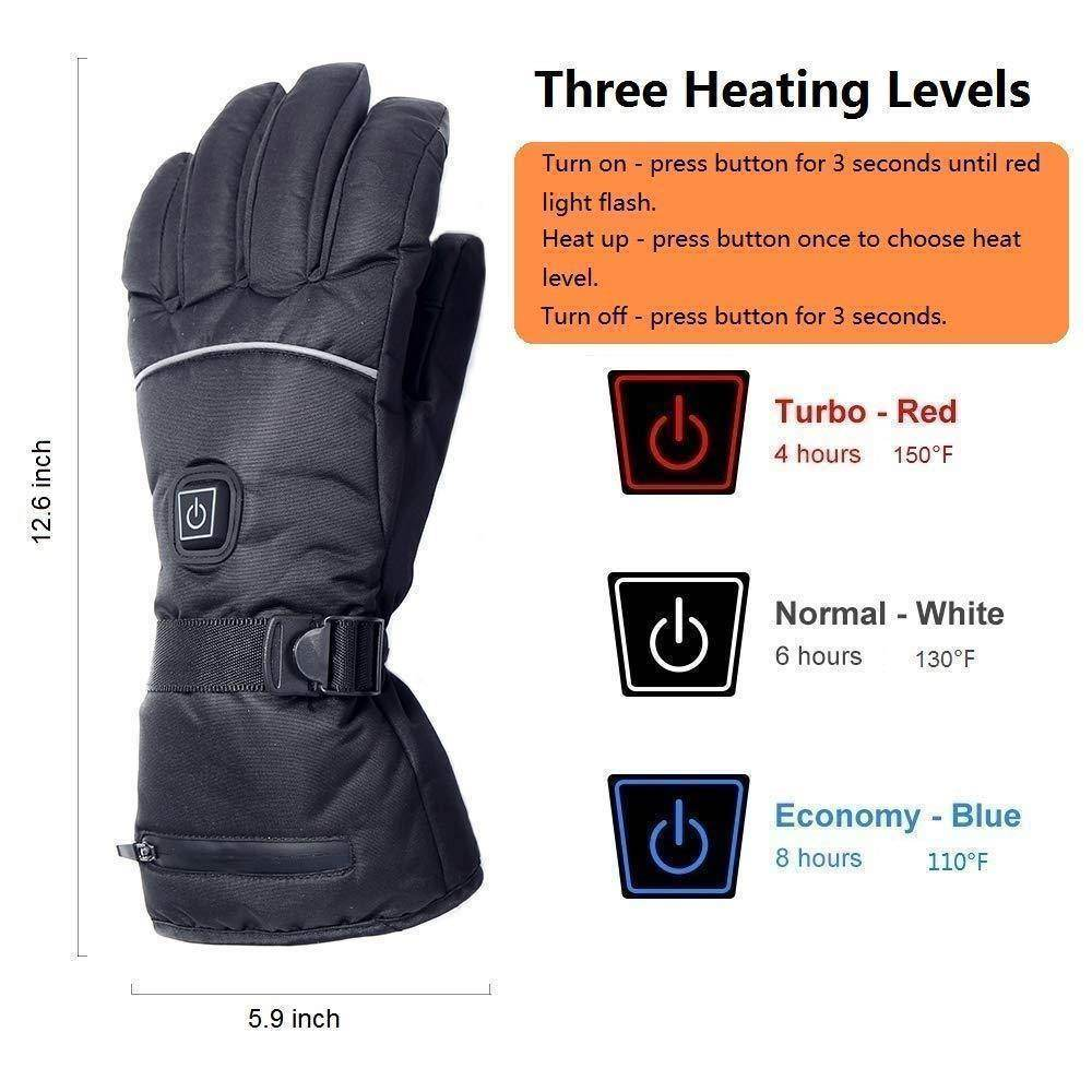 Battery/USB Rechargeable Heated Gloves Waterproof Touchscreen Gloves Electric Unisex Winter Gloves for Work, Cycling, Motorcycle, Hiking - Best Compression Socks Sale