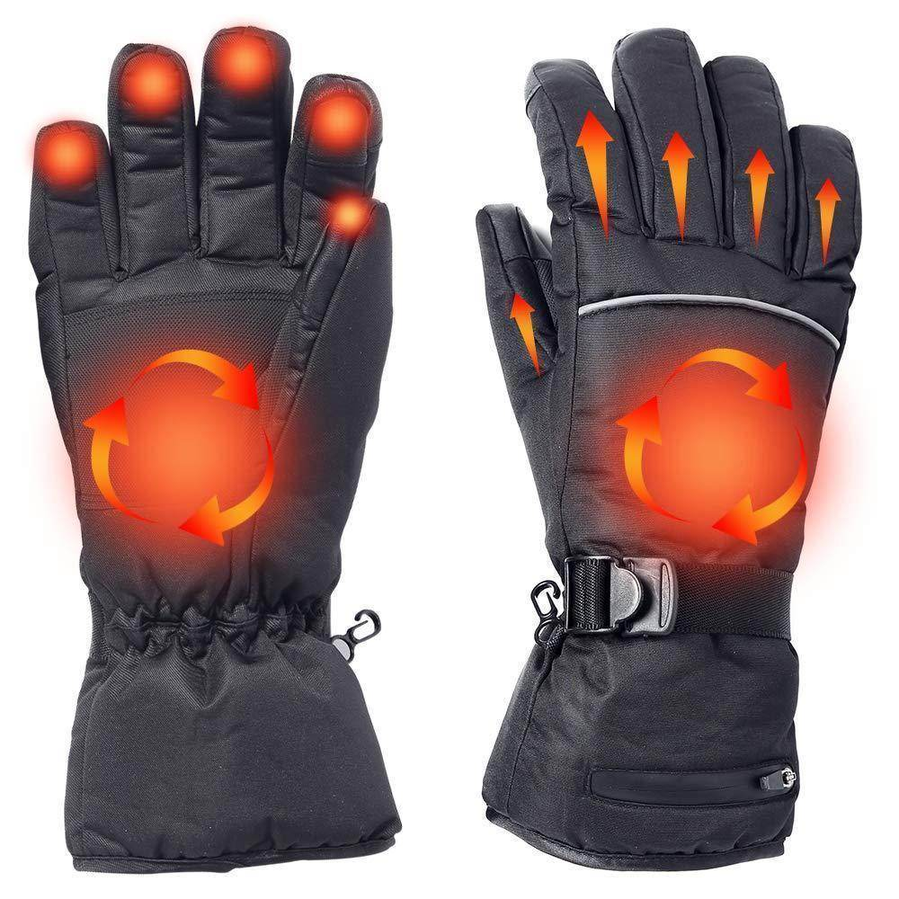 Battery/USB Rechargeable Heated Gloves Waterproof Touchscreen Gloves Electric Unisex Winter Gloves for Work, Cycling, Motorcycle, Hiking
