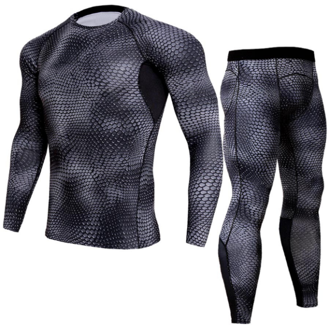 Men Snake Print Long Sleeve Quick Dry Compression T-Shirt and Tights Tops+Pants Sports Tracksuits - Best Compression Socks Sale