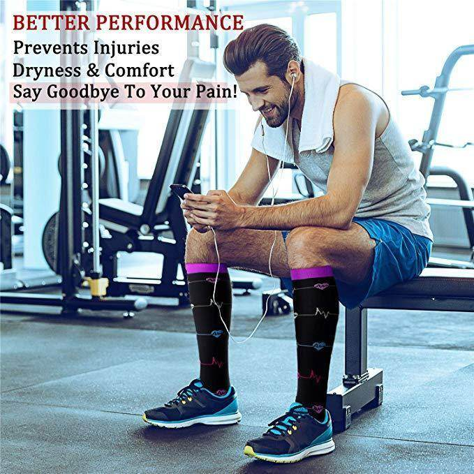Best Compression Socks 6 Pairs for Women & Men-Workout And Recovery/Pack#9