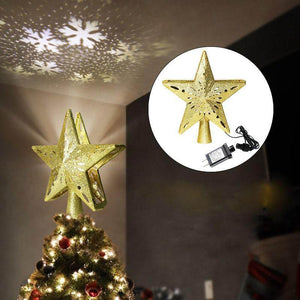 3D Hollow Gold Silver Star Christmas Tree Topper