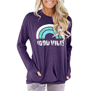 Womens Good Vibes Sweatshirt Long Sleeve Rainbow Pullover Top Casual T Shirts with Pockets - Best Compression Socks Sale