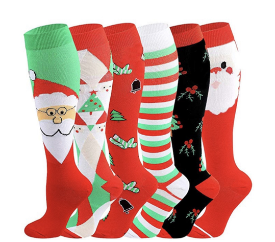 6 Pairs The Latest Christmas Compression Socks Support 20-30mmHg-For Men and Women-Workout And Recovery