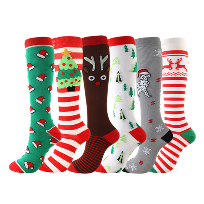 6 Pairs The Latest Christmas Compression Socks Support-For Men and Women-Workout And Recovery - Best Compression Socks Sale