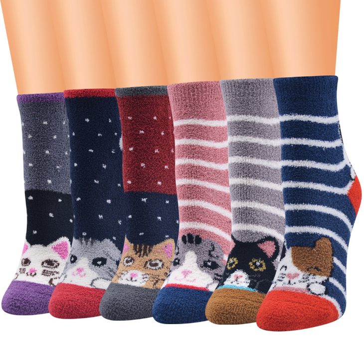 Cute Cat Socks Women Coral Fleece Anti-slip Floor Socks Carpet - Best Compression Socks Sale
