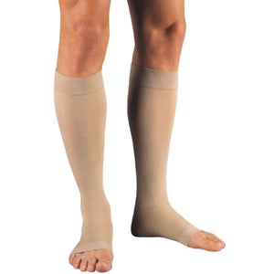 Open Toe Knee High Compression Socks - Easy to Put On Graduated Support Stockings