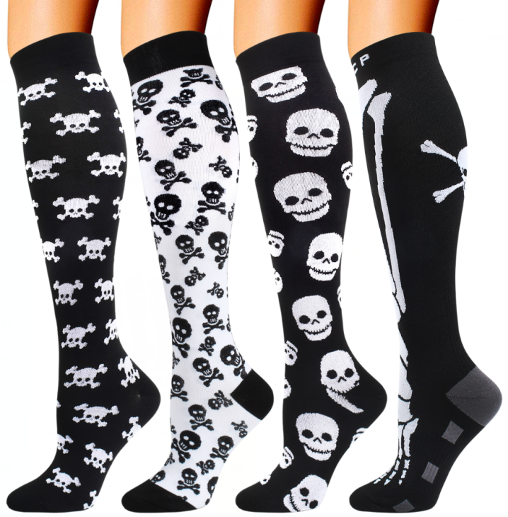 4 Pairs Halloween Skull Compression Socks Support 20-30mmHg-For Men and Women-Workout And Recovery - Best Compression Socks Sale