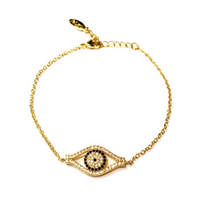 Paved Crystal Evil Eye Bracelet