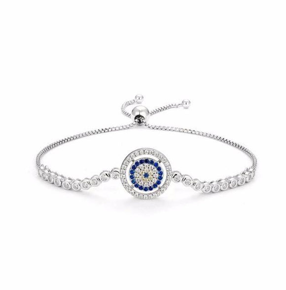 Crystal Eternity Circle Protection Eye Bracelet