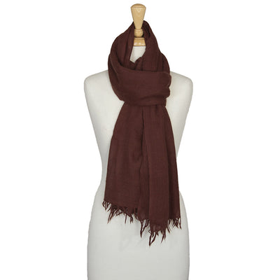 Angora wool scarf hand spun and hand woven in brown