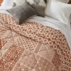 Block Printed Cotton Quilt in Patchwork Brown Print close up