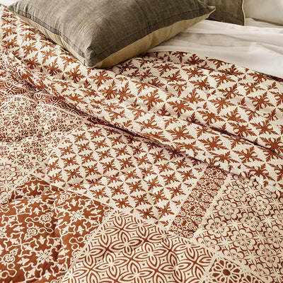 Block Printed Cotton Quilt in Patchwork Brown Print details
