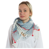 pom pom silk cotton scarf check blue red 1