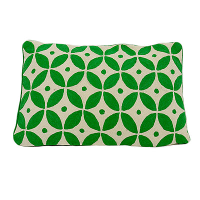 Handmade Kashmir Wool Cushion in Green 40x60cm with or without insert