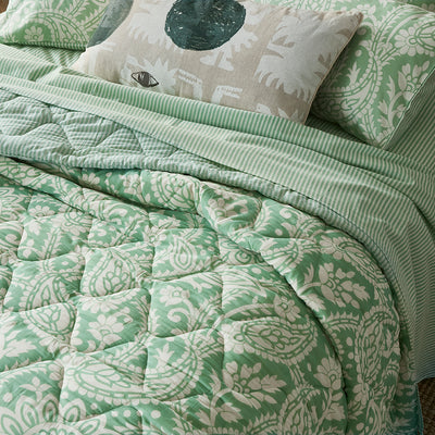 Block Printed Cotton Bed Set in Floral Green Print Super King details