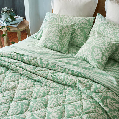 Block Printed Cotton Bed Set in Floral Green Print Super King close up 1