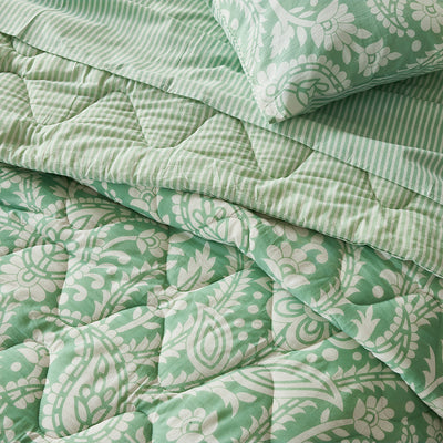 Block Printed Cotton Bed Set in Floral Green Print Super King pattern