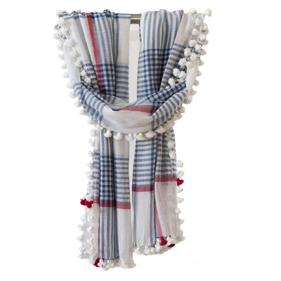 pom pom silk cotton scarf check blue red
