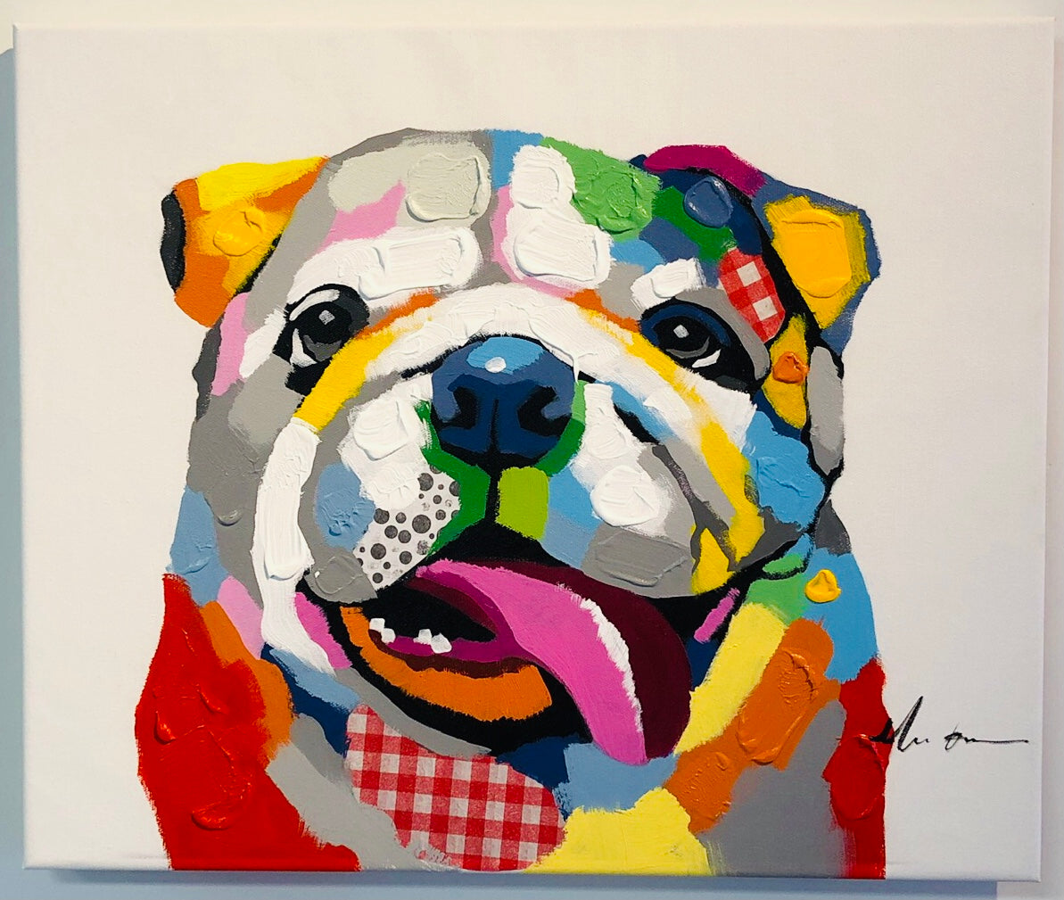 Bulldog Oil Painting On Canvas 16