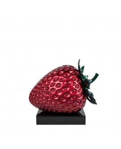 MINI SUMMER STRAWBERRY- METALIC RED- RESIN SCULPTURE