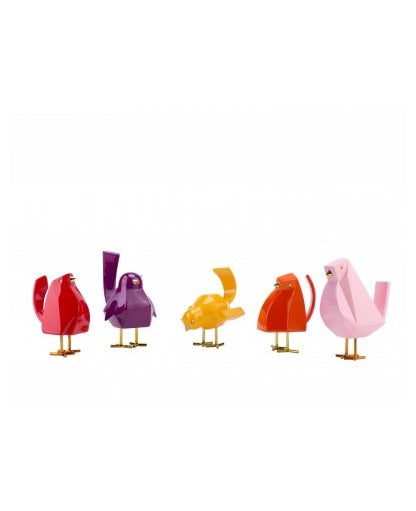 UNIQUE DECOR- LITTLE BIRDIES- ORANGE MONA, RED FRIEND, YELLOW GEORGE, PIRPLE RON, PINK PITTER