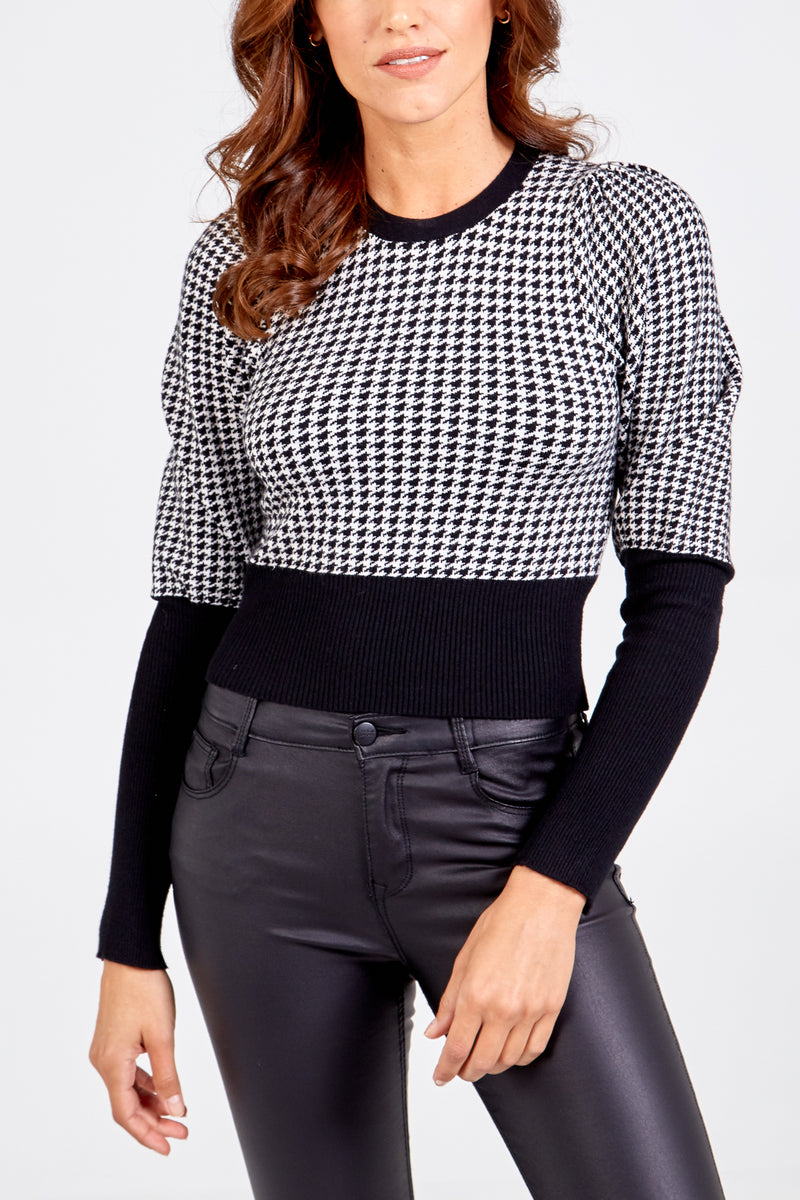 Hounds-tooth Mutton Cropped Jumper