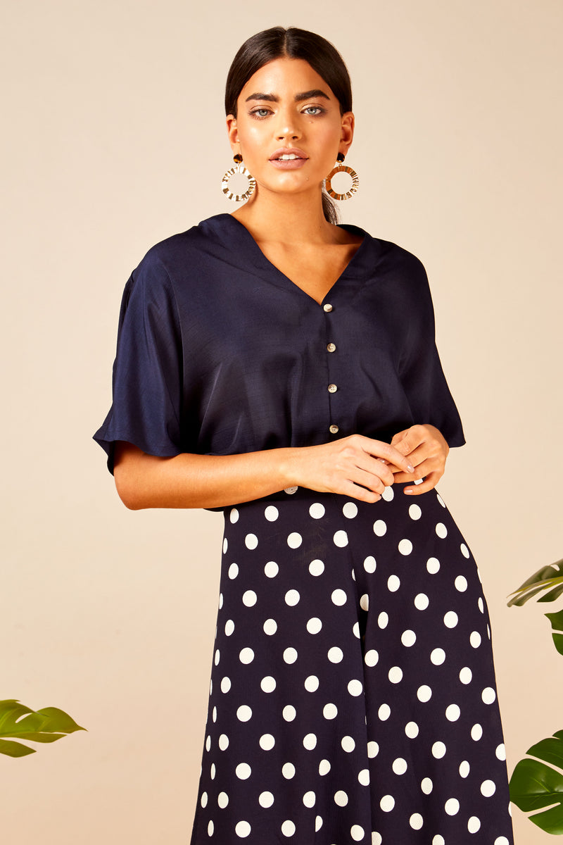 Button Tie Front Top
