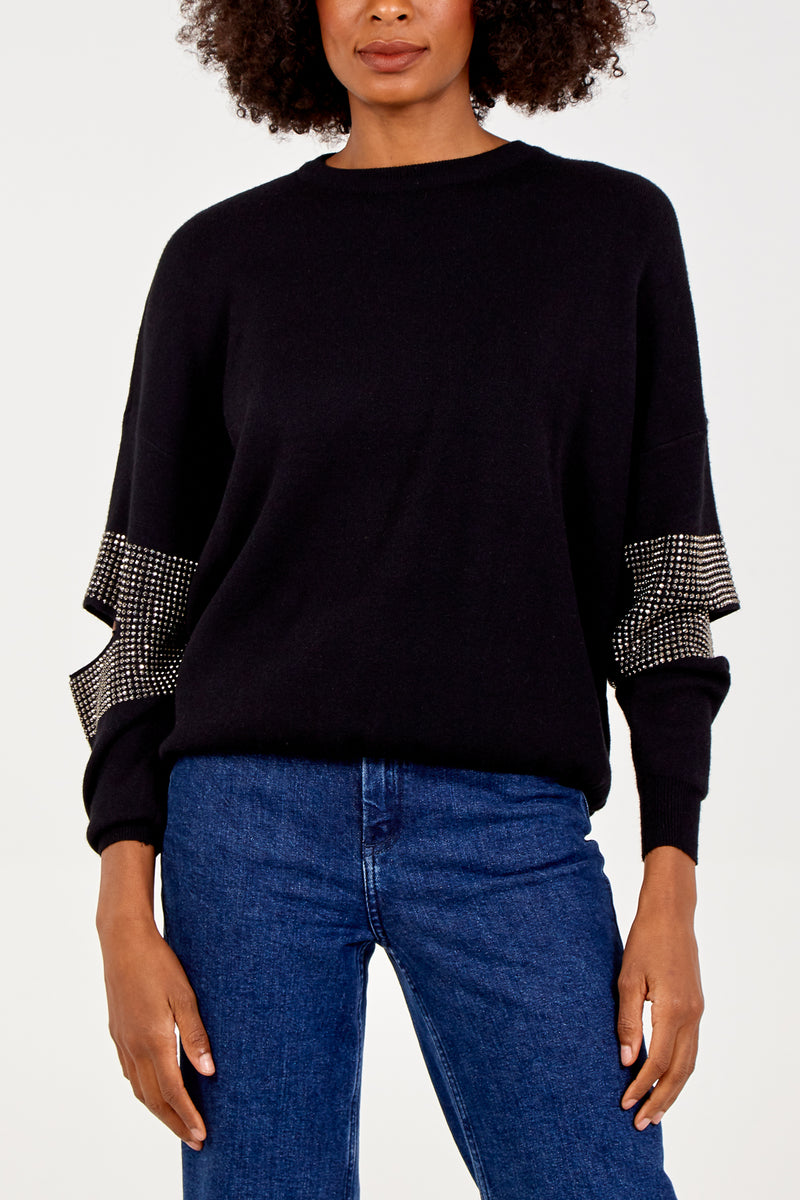Cut Away Elbow Bling Jumper