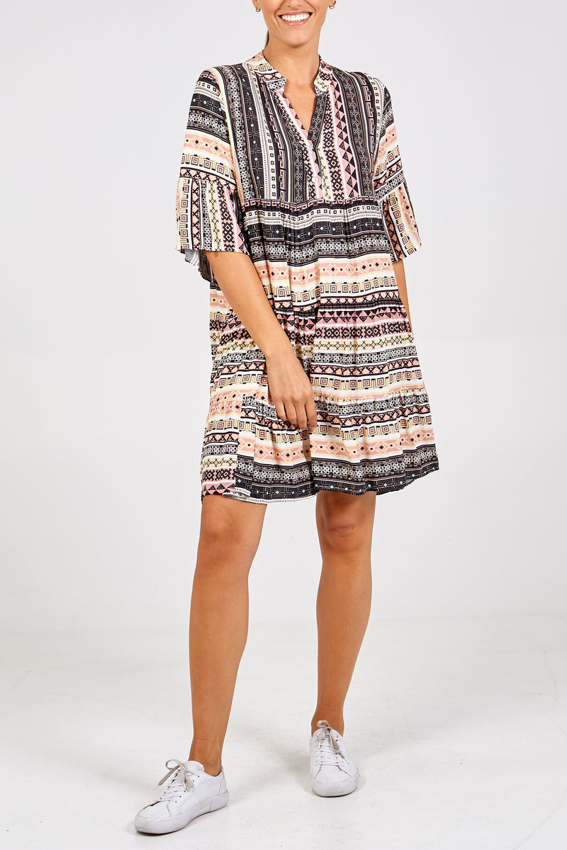 Aztec Print Shirt Dress
