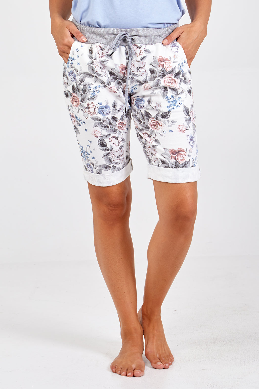 Floral Elasticated Knee Length Shorts
