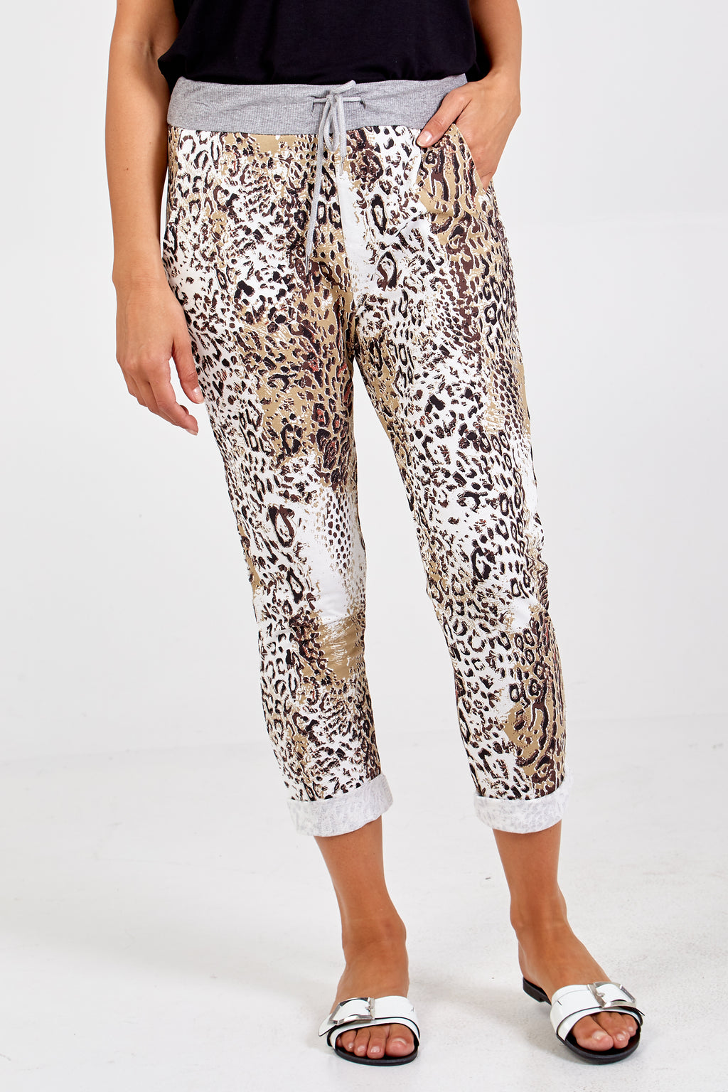 Animal Print  Elasticated Ankle Length Trousers