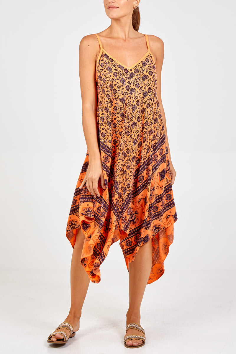 Elephant Print Hanky Hem Dress
