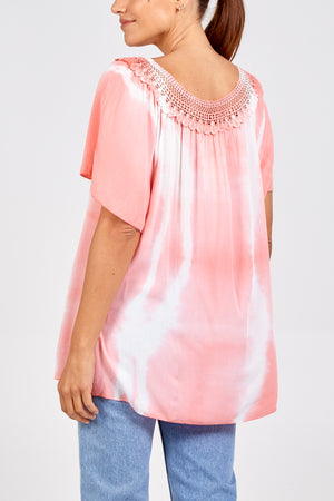 Crochet Neck Tie Dye Top