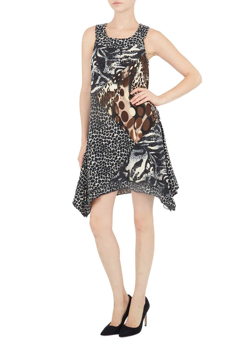 Crew Neck Sleeveless Animal Print Dress