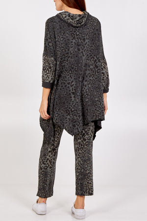 Asymmetrical Leopard Print Cowl Neck Lounge Wear Set
