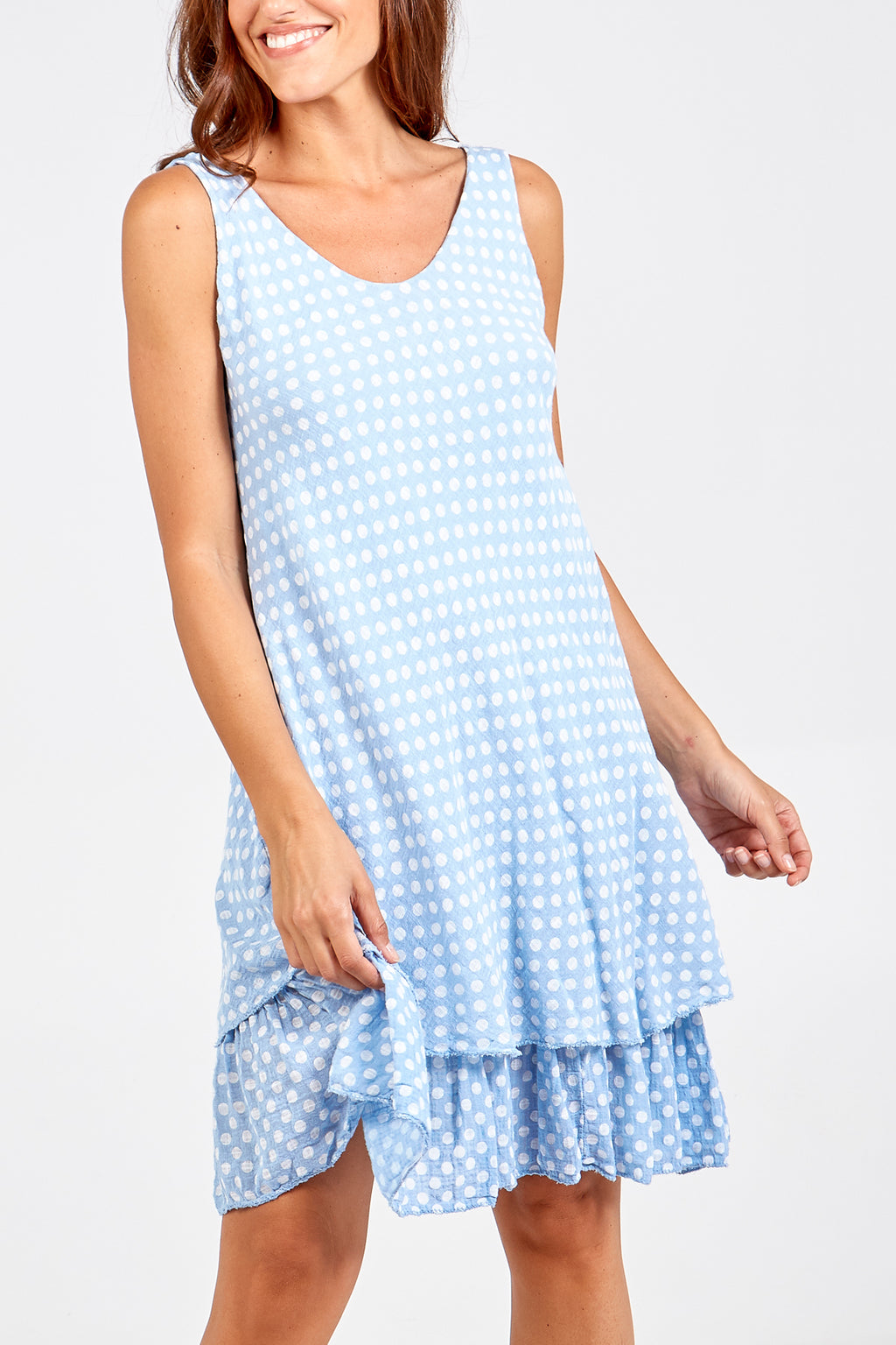 Double V Spotted Layered Dress