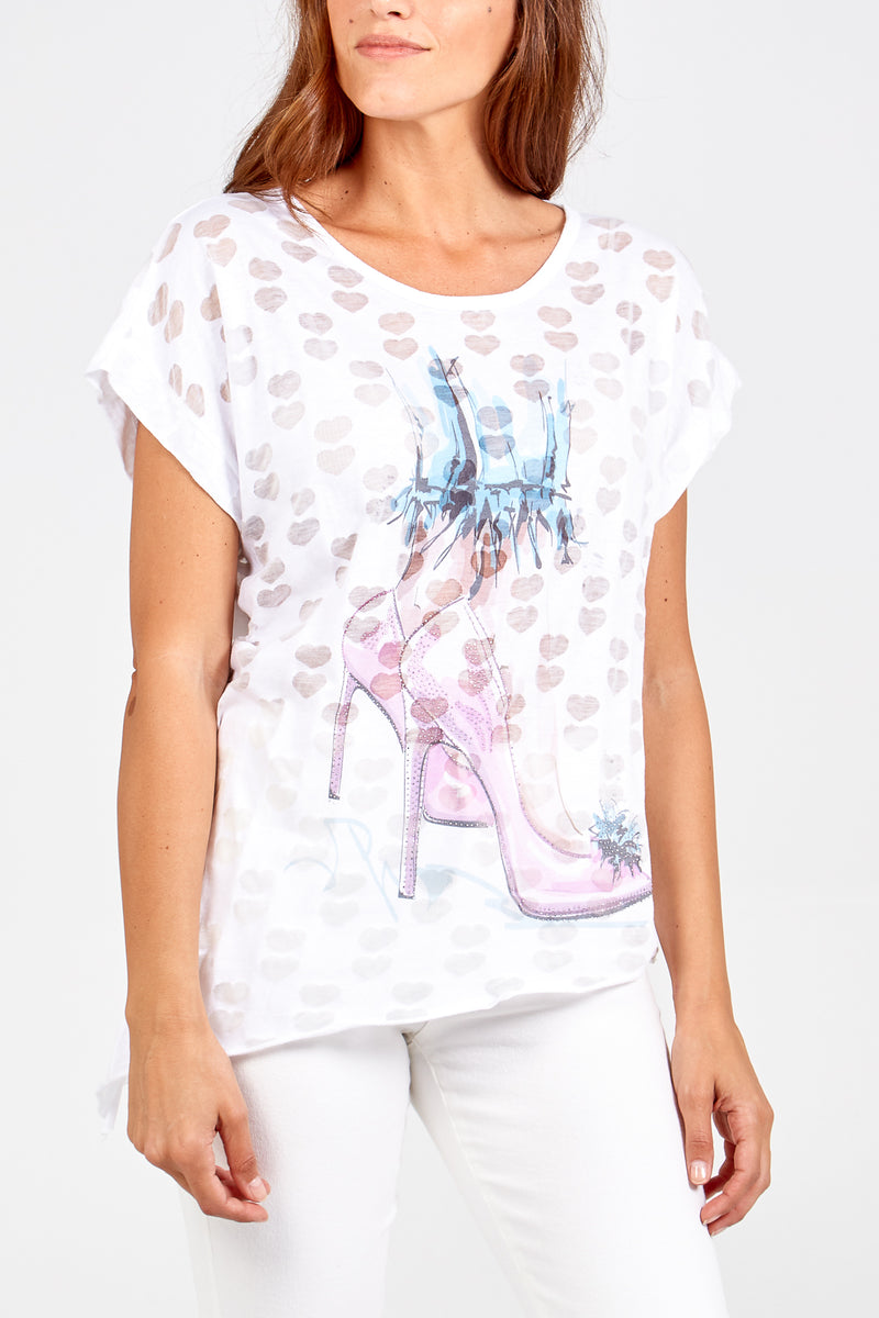 Stiletto On A Burn Out Heart Tee