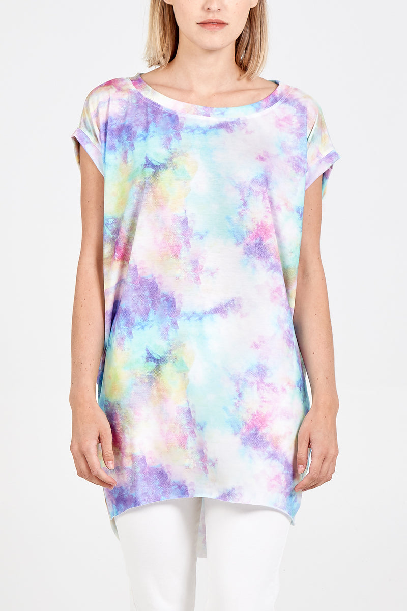Rainbow Tie Dye Print High Low T-Shirt