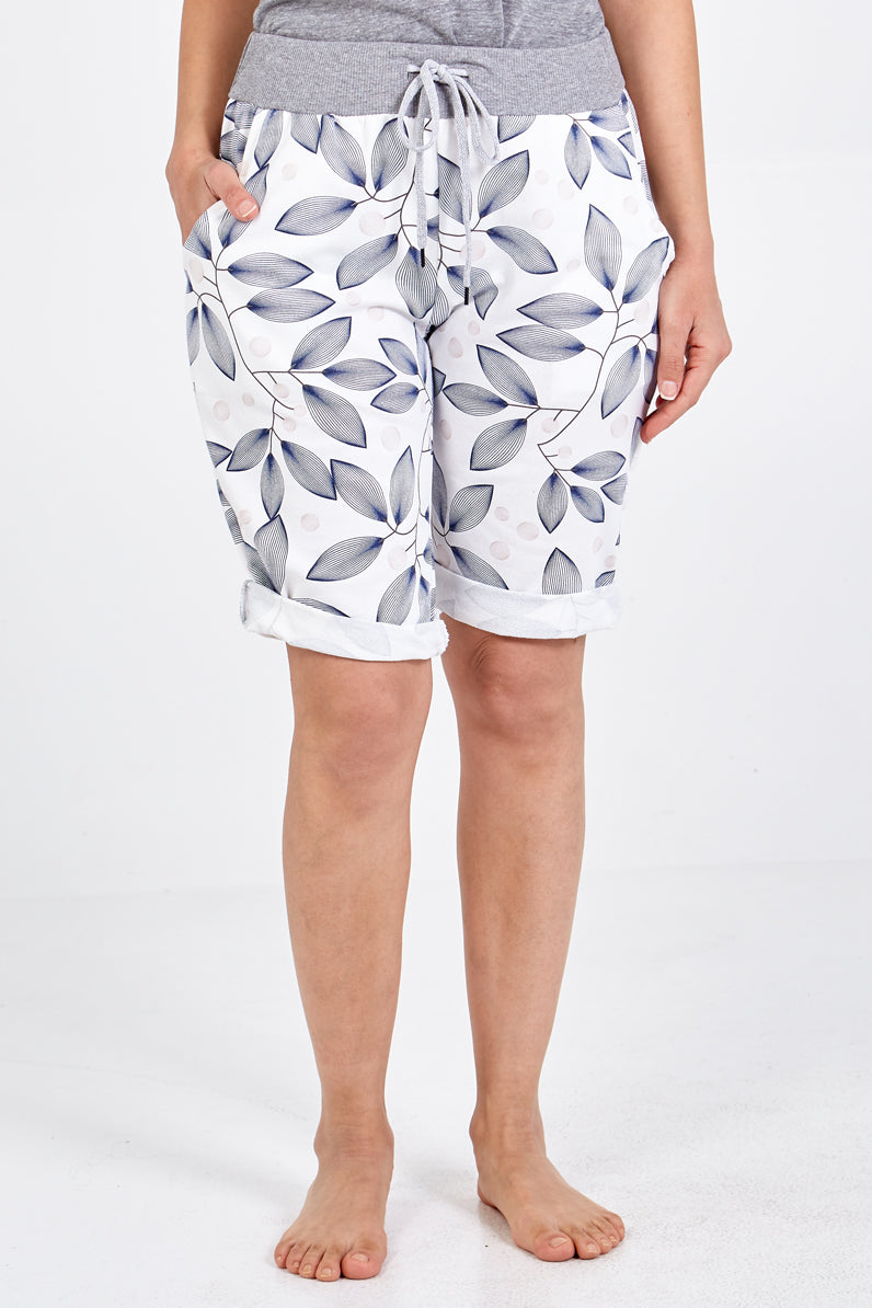 Leaf Print Draw String Shorts