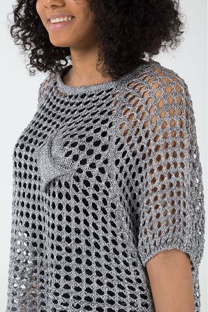 Sequin Crochet High Low Jumper
