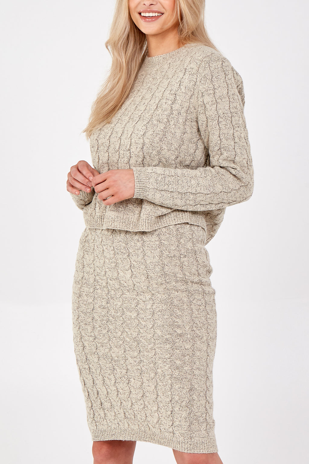 Cable Knitted Skirt Set