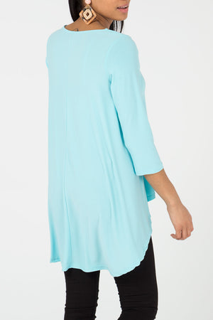 Mid Sleeve High Low Swing Top